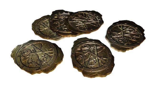 Metal Doom Coins included in Deluxe Box (3D Render)