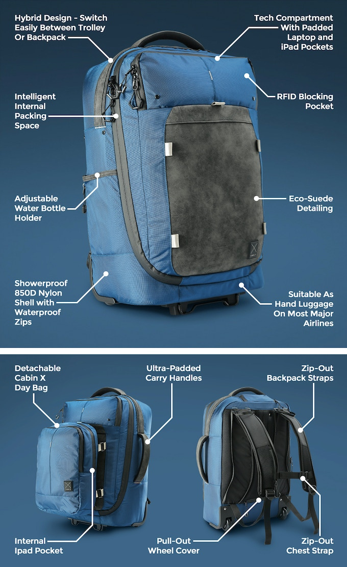 Cabin X One Hybrid Carry On Trolley Backpack And Day Bag By Cabin X Kickstarter