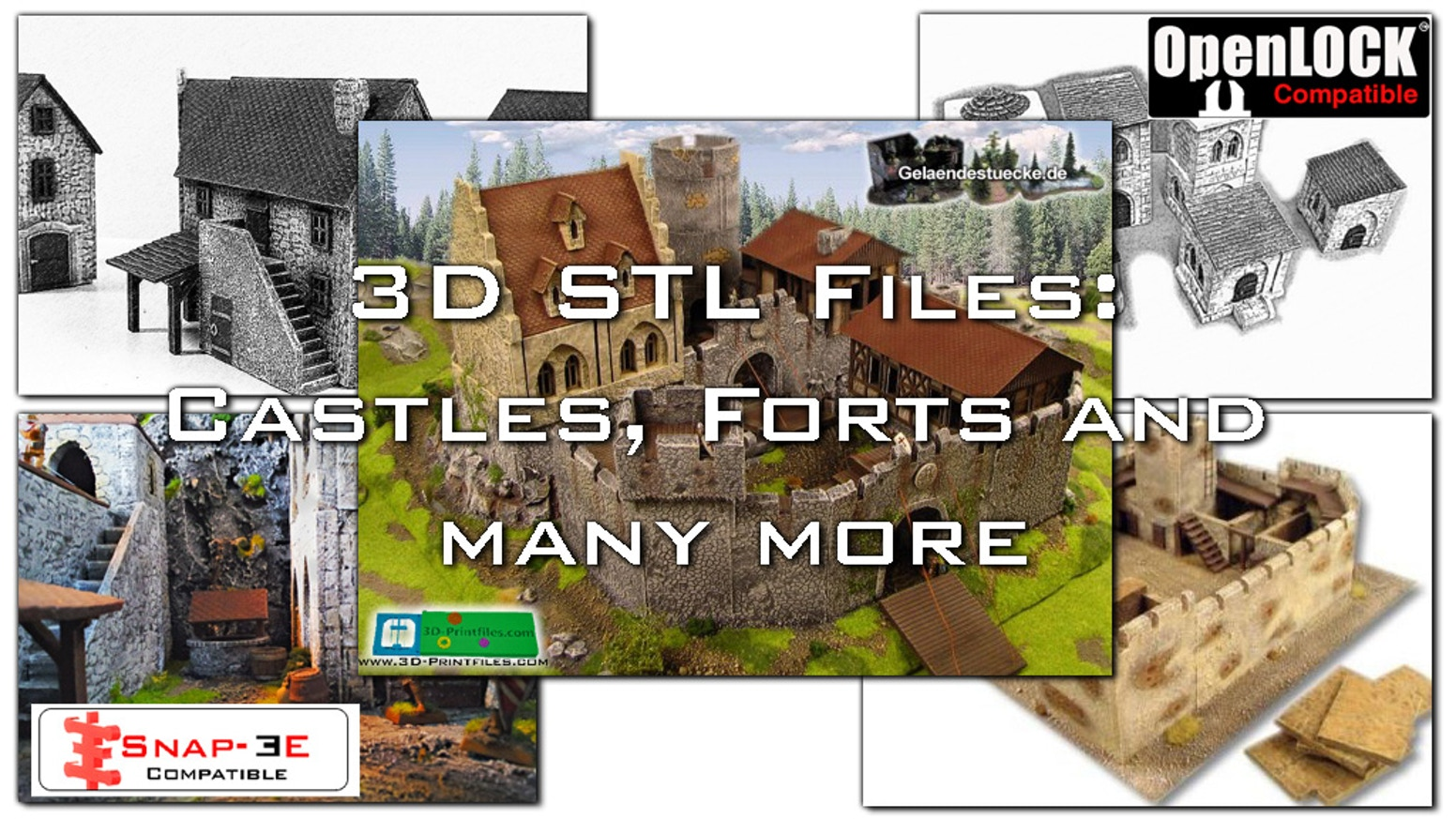 Build your own fort, castle, fortress, village and many more with your own 3D Home Printer. OpenLOCK & Snap-EE Compatible.