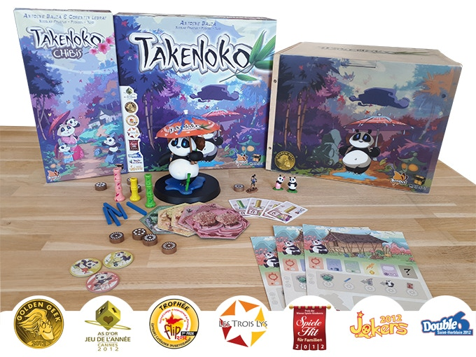 The expansion Takenoko Chibis, the base game Takenoko (classic and giant version), published by Bombyx and Matagot. Created by Antoine Bauza.