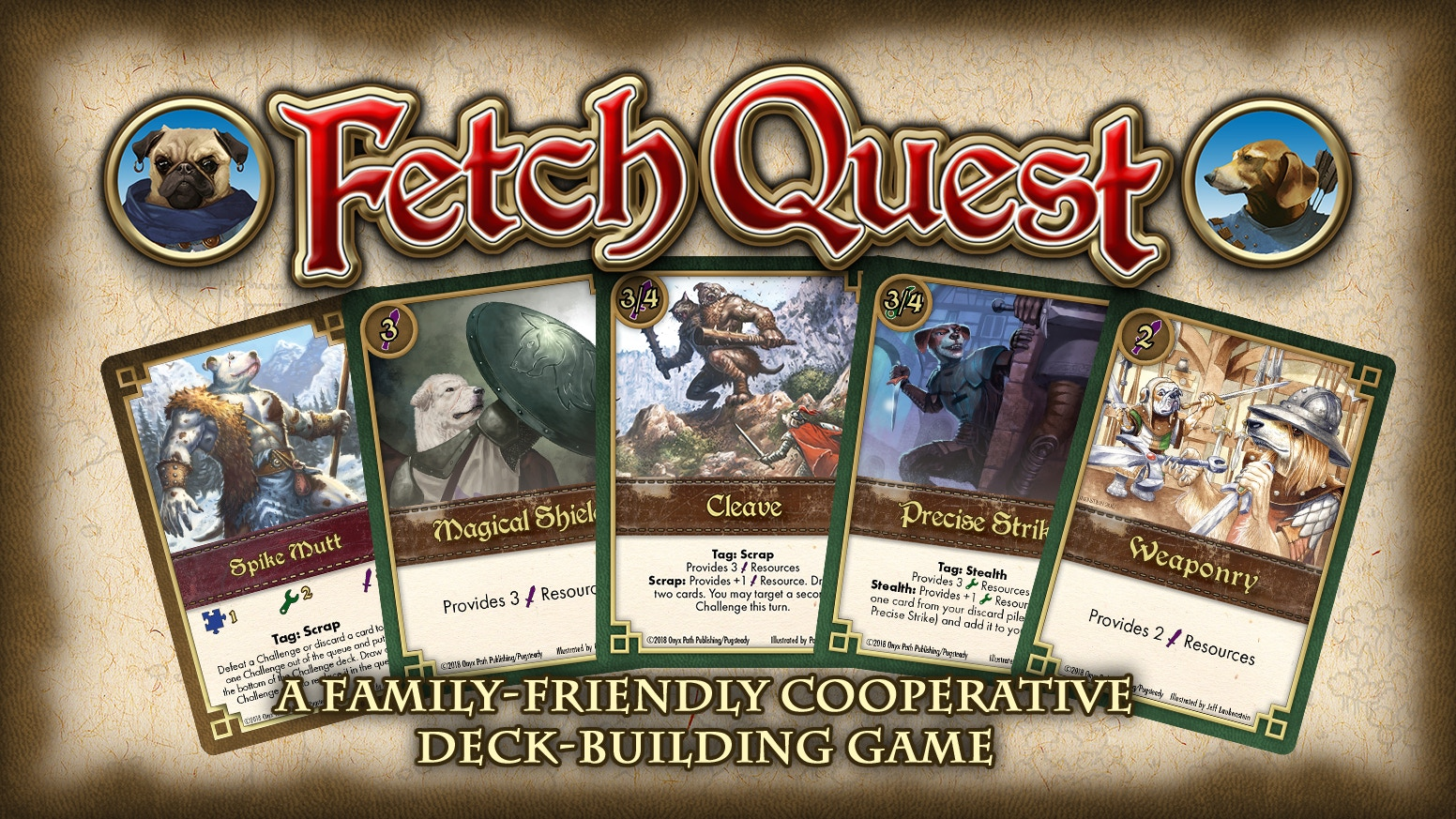 A collaborative card game for all ages where the dogs of Pugmire quest for the treasures of Man.