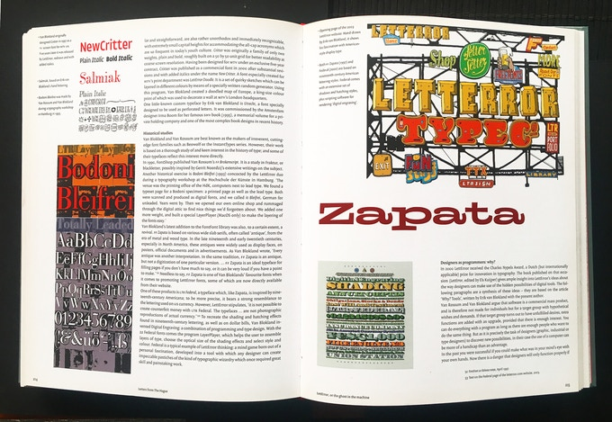 Spread from the LettError pages in the chapter Letters from The Hague.