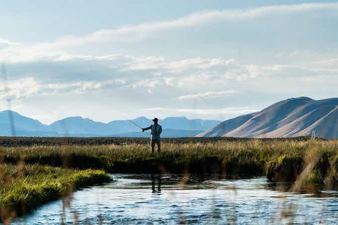 Penn working the drift on the Owens River in Mammoth CA