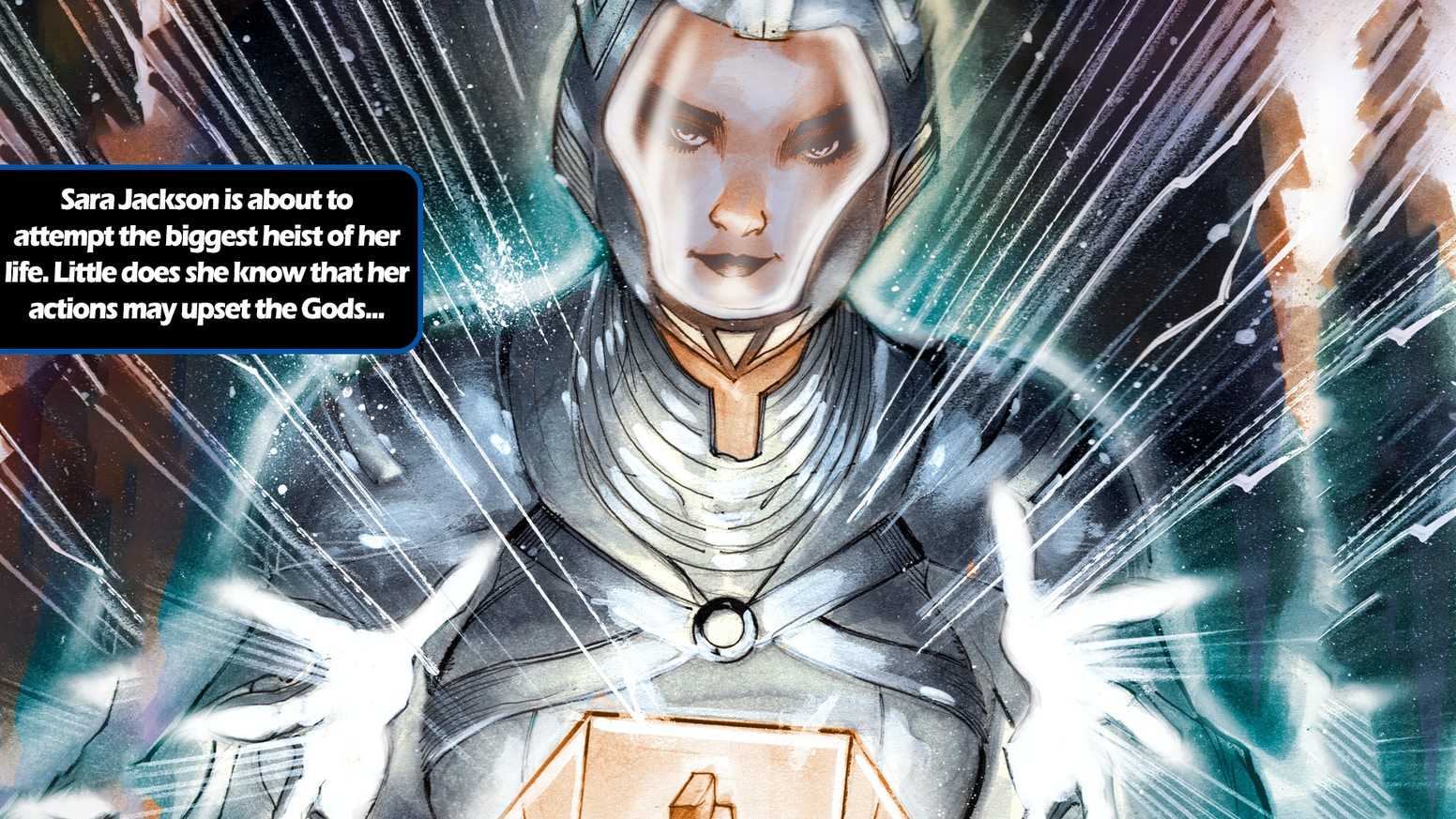 A teleporting thief-for-hire takes on more than she & her team could ever expect in this mythic/sci-fi action graphic novel.