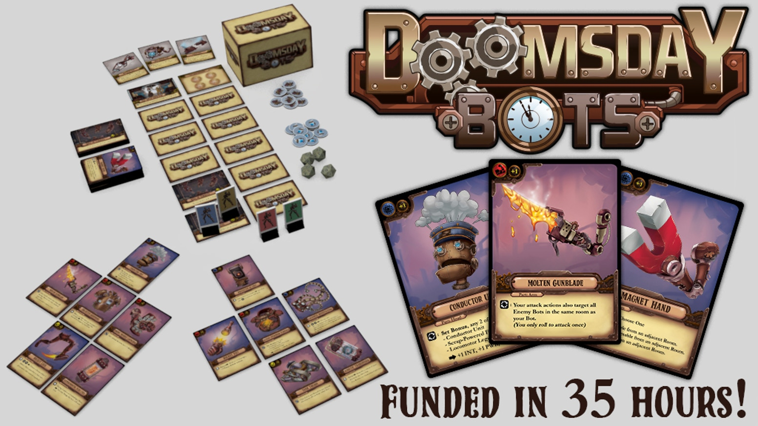 A 2-4 Player Competitive Board Game of Bot Building & Dungeon Running, Set in a Steampunk Post-Apocalyptic World.