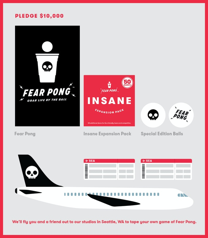 Get the game, expansion pack, balls, AND we'll fly you and a friend out to our studios in Seattle, WA to tape your own epic game of Fear Pong. We'll cover airfare to Seattle, lodging, and a good time for supporters from the U.S.!