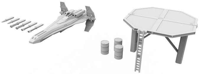 Republic Fighter, Landing Pad, Fuel Crates