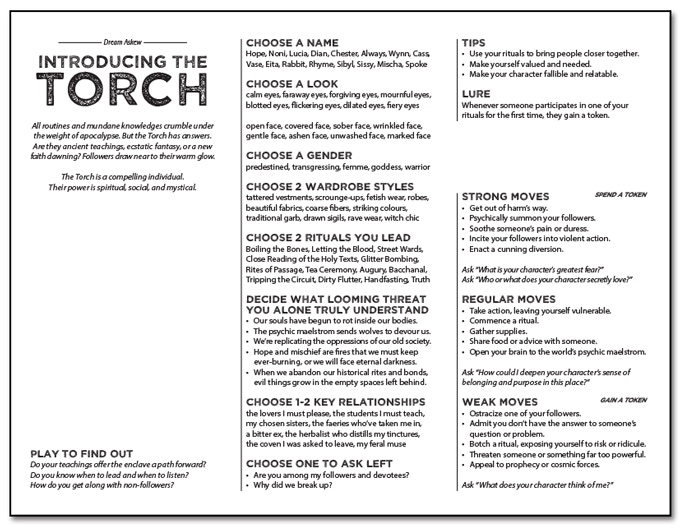 [image: the page layout for The Torch, a character role for Dream Askew]
