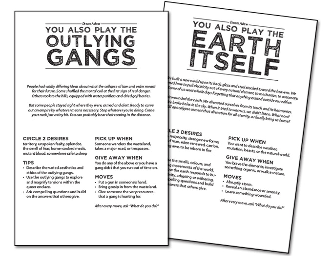 [image: the page layouts for Outlying Gangs and The Earth Itself, two setting elements for Dream Askew]