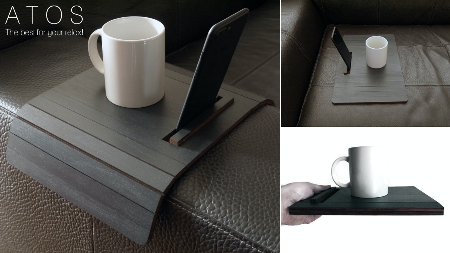 Atos Sofa Arm Table With Phone And Tablet Stand By Alessio Rocchi