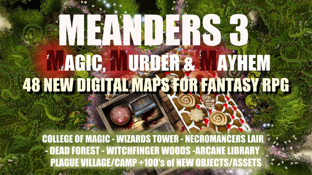 Meanders 3: Magic, Murder & Mayhem / Digital RPG Fantasy Maps and Vectors. Full Interiors/Exteriors, 300dpi JPG Artwork.