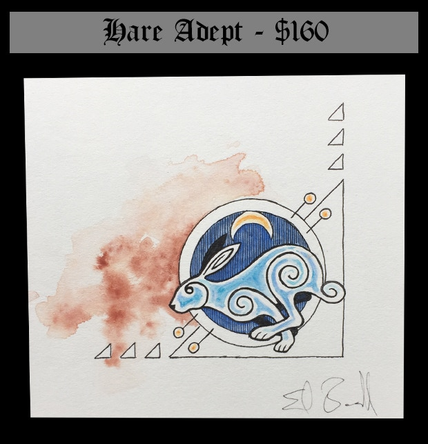 """This reward includes the original art for the Arcane Hare scroll (6"""" by 5.5"""" on mounted 80lb Strathmor drawing paper) plus the content of the Wizard's Library and one (1) set of Adept Scrolls: Arcane Animals."""