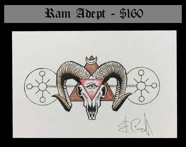 """This reward includes the original art for the Arcane Ram scroll (6"""" by 4"""" on mounted 80lb Strathmor drawing paper) plus the content of the Wizard's Library and one (1) set of Adept Scrolls: Arcane Animals."""