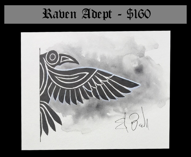 """This reward includes the original art for the Arcane Raven scroll (6"""" by 4.5"""" on mounted 80lb Strathmor drawing paper) plus the content of the Wizard's Library and one (1) set of Adept Scrolls: Arcane Animals."""