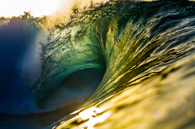 The emerald glow of an evening barrel, shot by the amazing waterman @lucarelliphoto