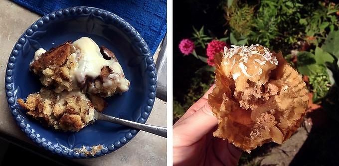 Cinnamon buns & muffins.