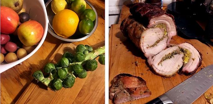 Holiday favorites using fresh produce; Porchetta.