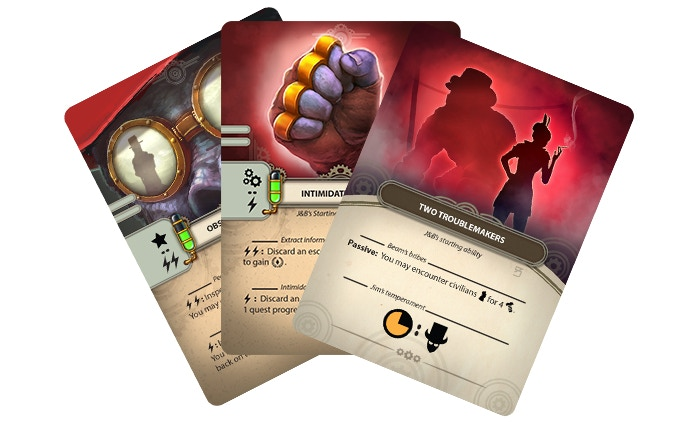 Each character has a unique set of ability cards.