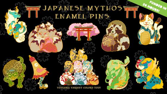 Japanese Mythos Enamel Pins