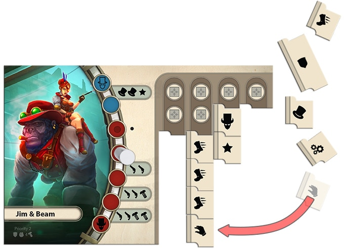 The unique action mechanic allows you to improve and activate an action column each turn.
