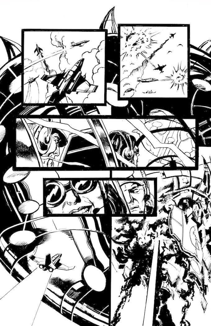 Phantom Flight page 9 by Bob Hall. Original art: $300