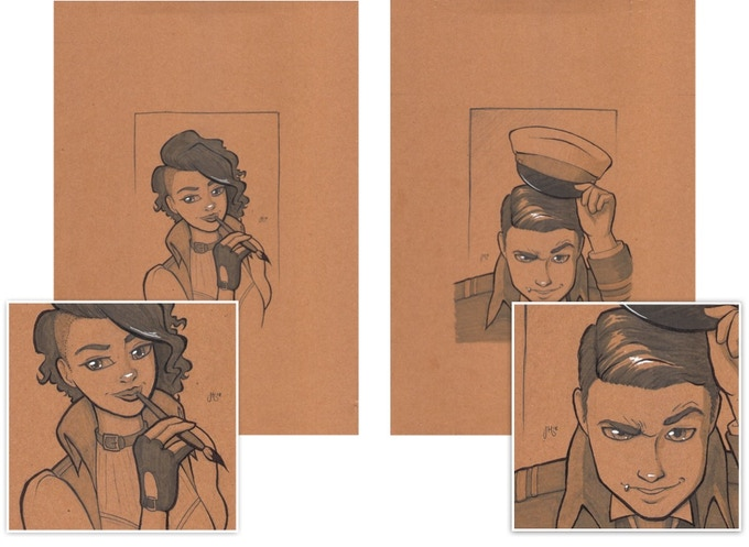 Example portraits of a shy artist and a dashing dirigible pilot.