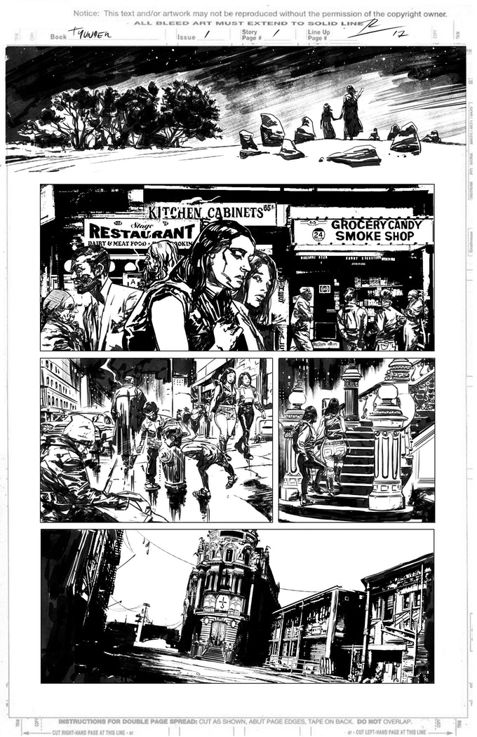 Obsidian & Gold page 1 by Roberto de la Torre. Proof only. (Original not available.)