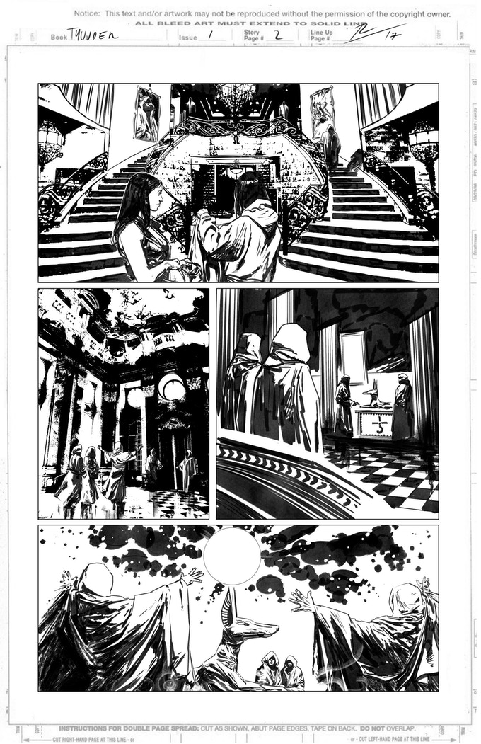 Obsidian & Gold page 2 by Roberto de la Torre. Proof only. (Original not available.)