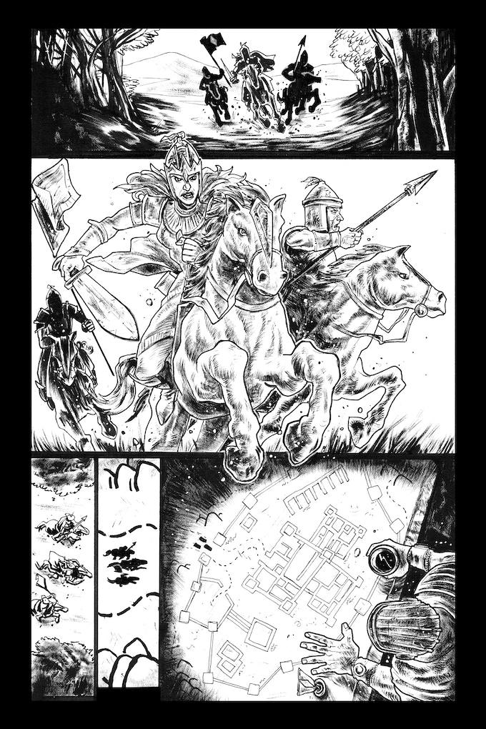 Tomyris page 1 by Trav Hart. Original art: $225