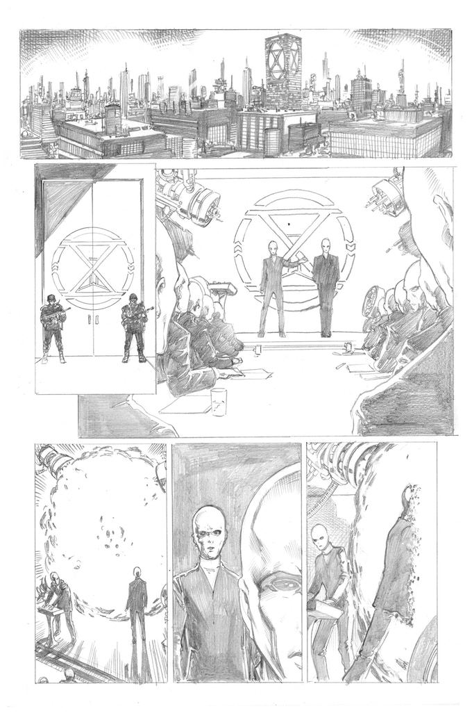 Fortress of the Future Race page 1 by Barry Kitson. Original art (pencil & ink set): $400
