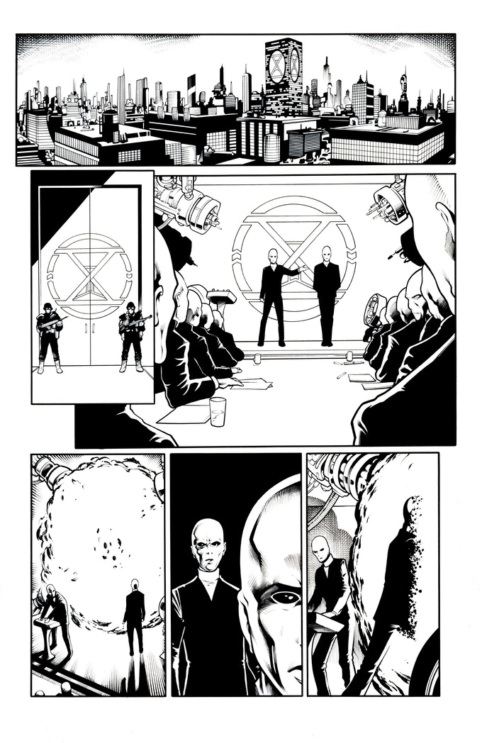 Fortress of the Future Race page 1 by Mostafa Moussa. Original art (pencil & ink set): $400