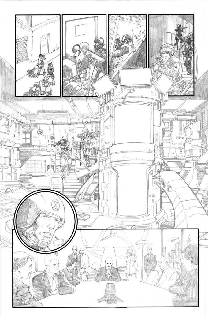 Fortress of the Future Race page 2 by Barry Kitson. Original art (pencil & ink set): $400