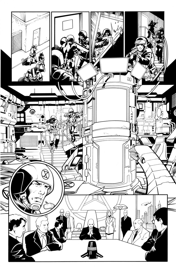 Fortress of the Future Race page 2 by Mostafa Moussa. Original art (pencil & ink set): $400