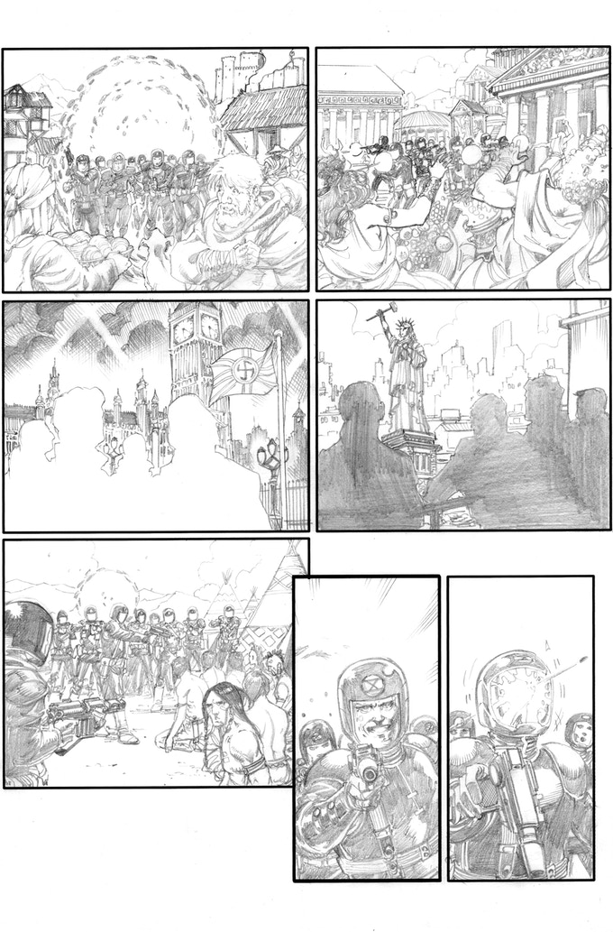 Fortress of the Future Race page 3 by Barry Kitson. Original art (pencil & ink set): $400
