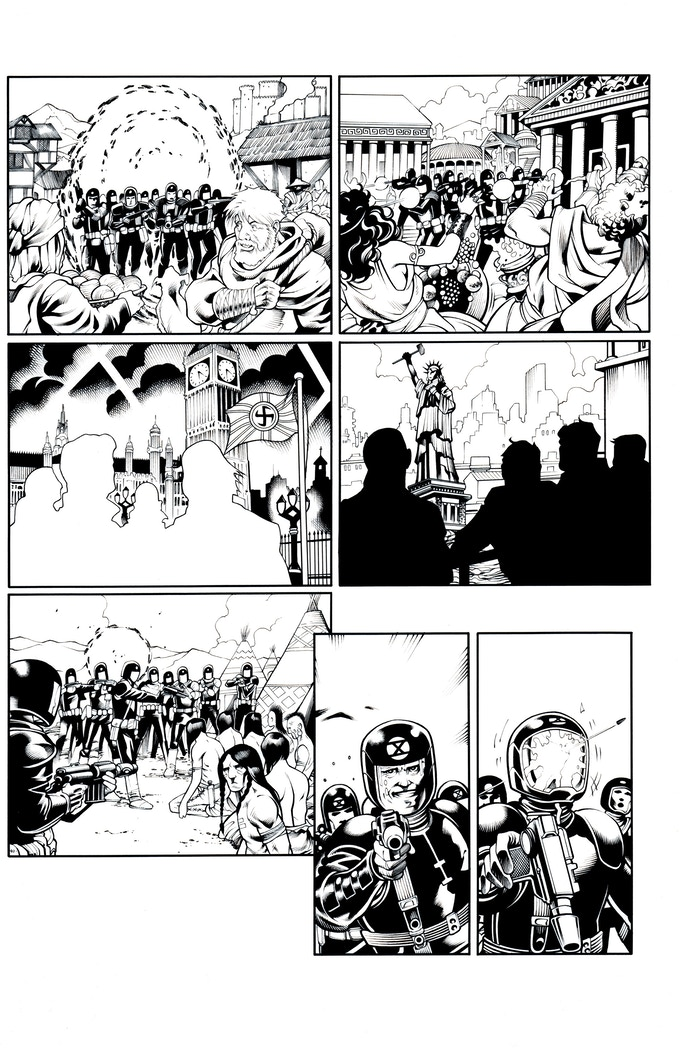 Fortress of the Future Race page 3 by Mostafa Moussa. Original art (pencil & ink set): $400