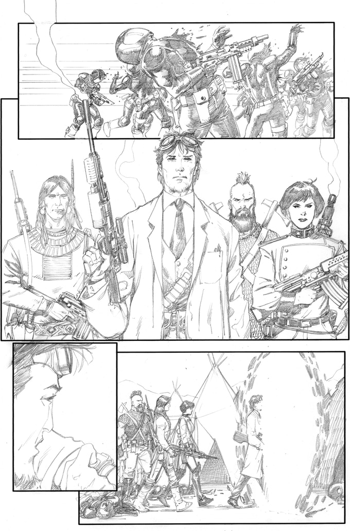 Fortress of the Future Race page 4 by Barry Kitson. Original art (pencil & ink set): $450