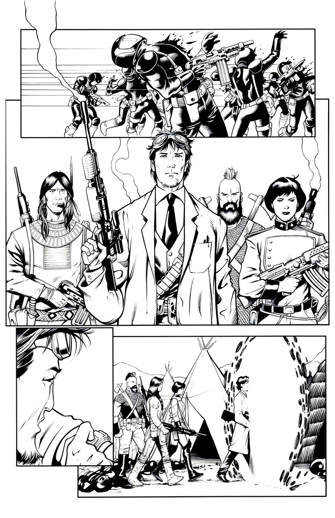 Fortress of the Future Race page 4 by Mostafa Moussa. Original art (pencil & ink set): $450