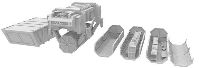 Transport Shuttle, Containers