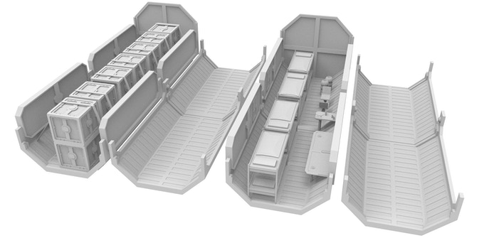 F.O.B. Containers with detailed interior
