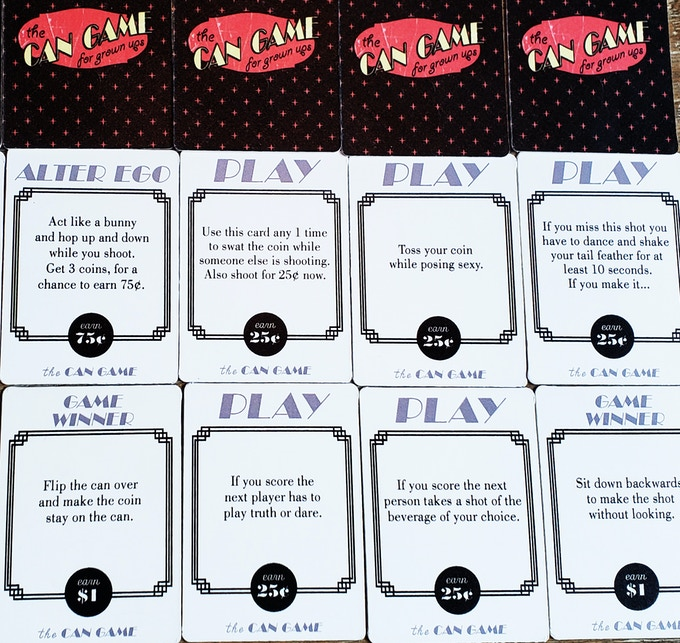 Example of cards from the grown up deck. There are 52 in a deck
