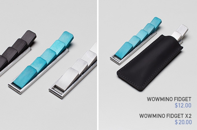 Wowmino Fidget comes with 3 Colors (Charcoal Black, Mica Blue, Liquid Silver). Pouch is included.