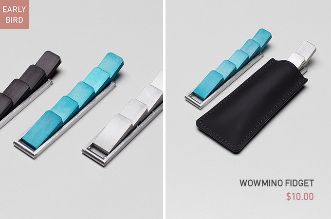 Early Bird - $10 - Wowmino Fidget with 3 Colors (Charcoal Black, Mica Blue, Liquid Silver). Pouch is included.