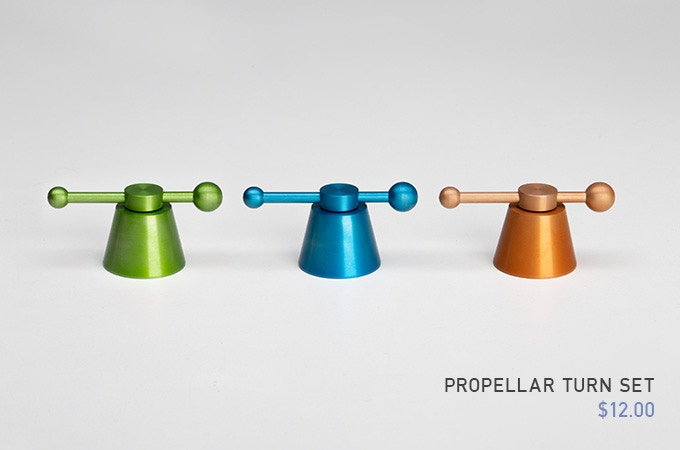 Aluminum Propeller Turn Set - Colors (Electric Green, Surfers Blue, Motion Copper)