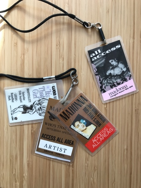 Lanyards from the Virgin Tour and Who's That Girl Tour
