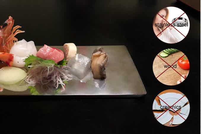 Stainless steel sushi plate gives a metallic smell and taste, wood breeds bacterials, and ceramic is brittle. Solid Titanium fixes all these problems. It preserves the original taste of food and gives perfect results every time.