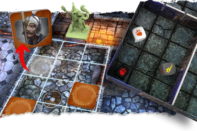 Mandar just opened a door. The player recreates the room layout by using the box lid and rolls 3 dice that indicate the position of the Presence Tokens. Each Token is then turned face up and replaced by the corresponding miniature.