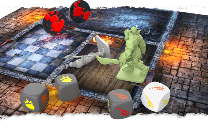 Orrus inflicts 2 Orange Hits to the guard, who defends himself with a Yellow Defense, thus not allowing him to be successful in defending the attack. Since the guard only has 2 Orange Health Points, he suffers 2 wounds and dies a painful death.