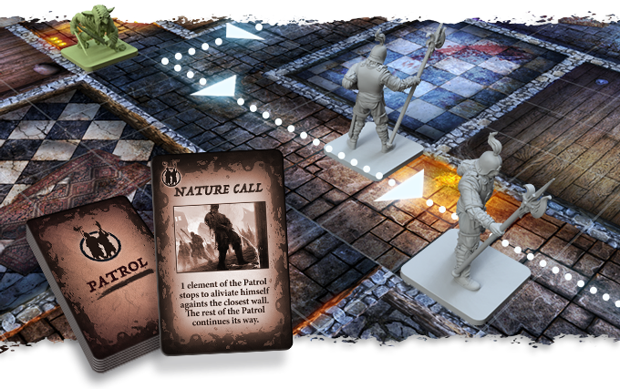 At the moment of activating the Patrol, draw a Patrol card and apply its effect. On this one, the Guard seems to be in a hurry to do something…