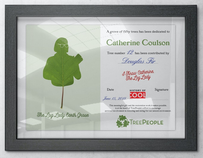 Example of a Log Lady Earth Grove certificate which will be signed and numbered