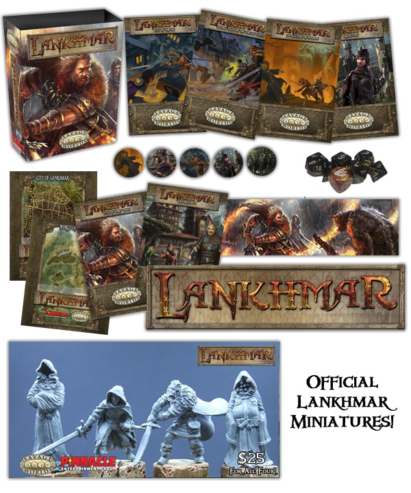 Everything in the Kickstarter from the new Lankhmar Savage Seas of Nehwon & Miniatures of Fafhrd, Gray Mouser, Sheelba of the Eyeless Face & Ningauble of the Seven Eyes—to our existing line for Lankhmar available in a beautiful Collector's Box Set!